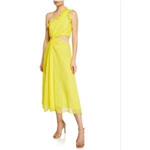 New Cinq a sept Corinne Ruffled  Midi Yellow Dress